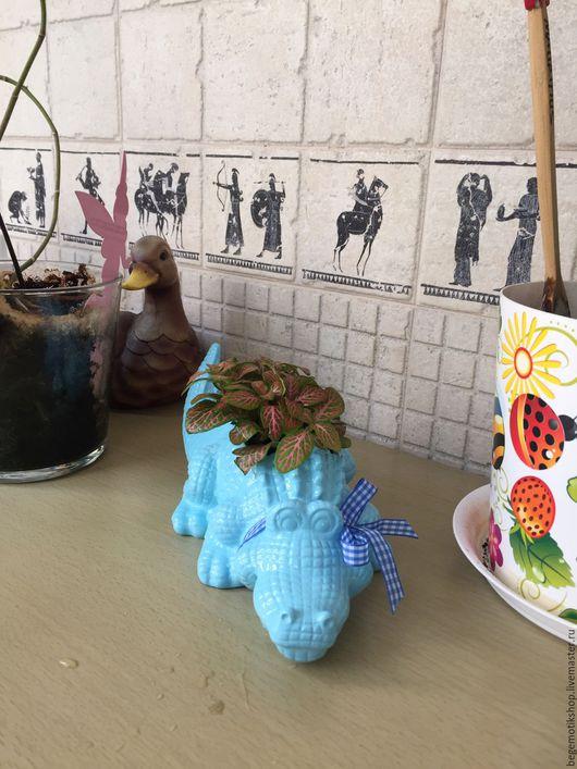 Интерьерные композиции ручной работы. Ярмарка Мастеров - ручная работа. Купить Крокодил кашпо для цветов. Handmade. Комбинированный, кашпо