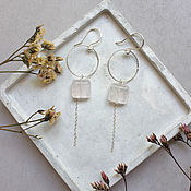 Украшения handmade. Livemaster - original item Earrings classic: Earrings with rose quartz on the circles. Handmade.