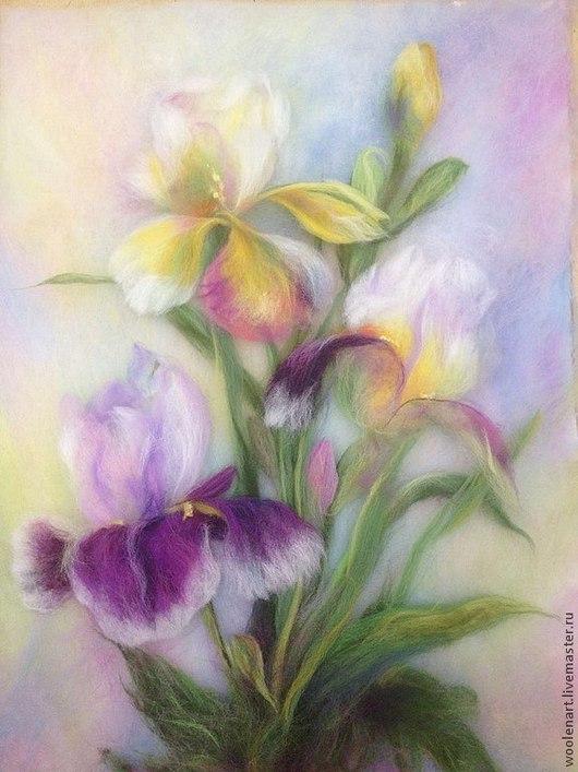 Картины цветов ручной работы. Ярмарка Мастеров - ручная работа. Купить Картина из шерсти цветы Ирисы 30х40. Handmade. Картина
