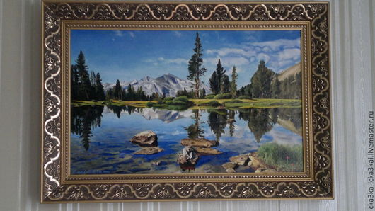 "картина ""Горное озеро""\r\nкартина выполнена на холсте размером 80х50 масляными красками.\r\nможно заказать любой размер картины,\r\nручная работа - холст, масло."
