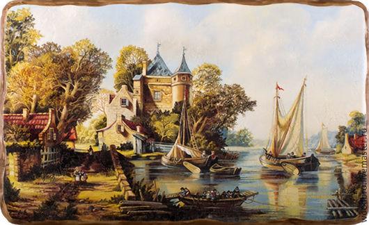 Пейзаж ручной работы. Ярмарка Мастеров - ручная работа. Купить Голландский пейзаж №2. панно на дереве.. Handmade. Разноцветный