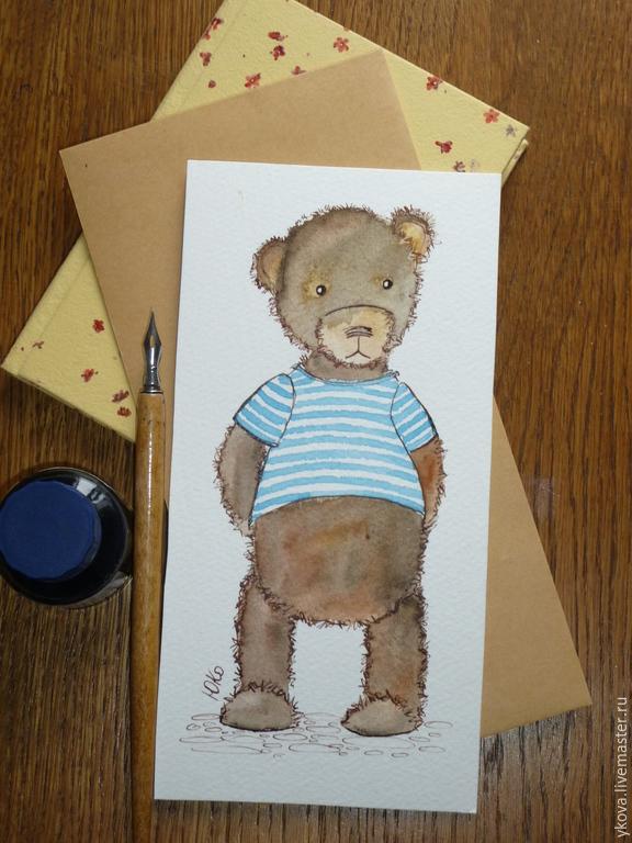серый мишка открытка папе мафы несут