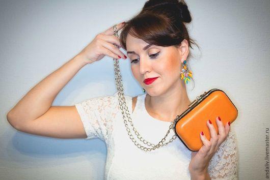 """Женские сумки ручной работы. Ярмарка Мастеров - ручная работа. Купить Кожаный клатч """"Бешеный апельсин"""". Handmade. Оранжевый, клатчбокс"""