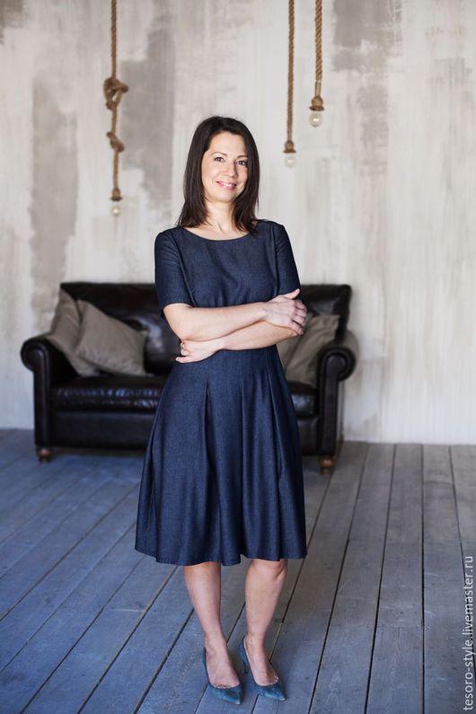Платья ручной работы. Ярмарка Мастеров - ручная работа. Купить Практичный Джинс (платье). Handmade. Тёмно-синий, джинс