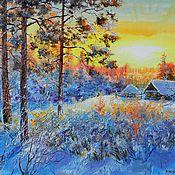 Картины и панно handmade. Livemaster - original item 32 oil Painting landscape SIMA in golubom author`s work. Handmade.