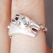 """Кольца ручной работы. Ярмарка Мастеров - ручная работа Кольцо из серебра """"Спящий кролик"""". Handmade."""