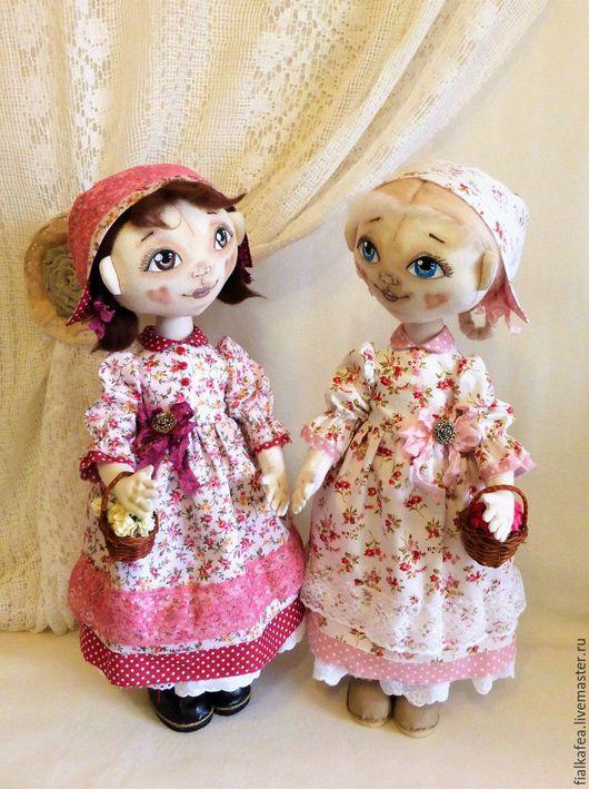 Человечки ручной работы. Ярмарка Мастеров - ручная работа. Купить текстильные куклы Розочка и Беляночка, авторские. Handmade. Розовый
