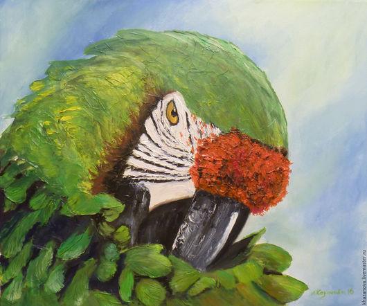 """Животные ручной работы. Ярмарка Мастеров - ручная работа. Купить """"Зеленый ара"""" (холст/масло). Handmade. Зеленый, интерьерная картина"""