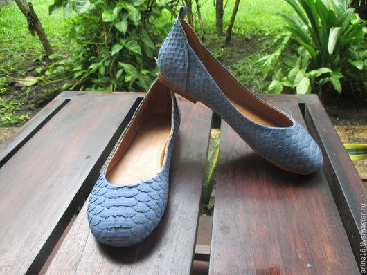Обувь ручной работы. Ярмарка Мастеров - ручная работа. Купить балетки сине-серые. Handmade. Серый, балетки кожаные