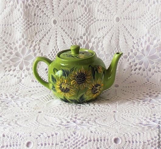 """Чайники, кофейники ручной работы. Ярмарка Мастеров - ручная работа. Купить Керамический заварочный чайник с росписью """" Подсолнухи"""". Handmade."""