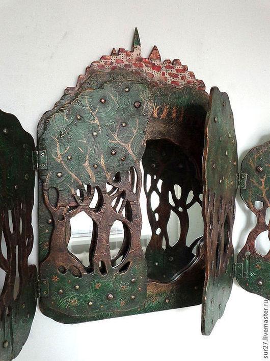 """Зеркала ручной работы. Ярмарка Мастеров - ручная работа. Купить зеркало """"Волшебный лес"""". Handmade. Тёмно-зелёный, акриловые краски"""