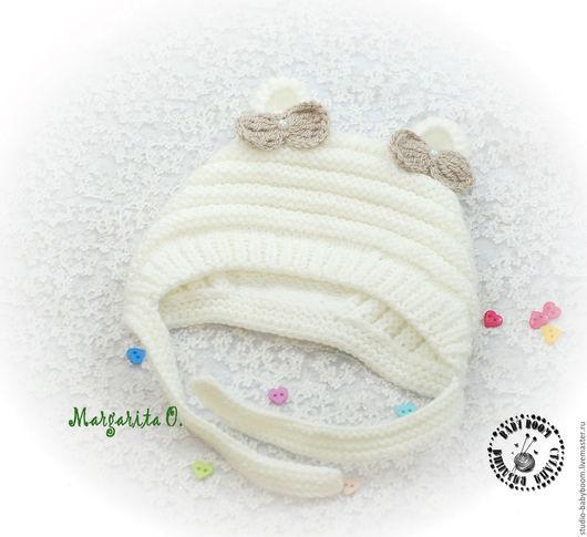 Для новорожденных, ручной работы. Ярмарка Мастеров - ручная работа. Купить Шапочка для новорожденного, шапочка с ушками, чепчик вязаный. Handmade.