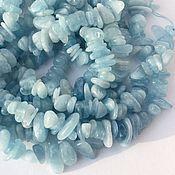 _Аквамарин нить 20 см крошка камни бусины для украшений