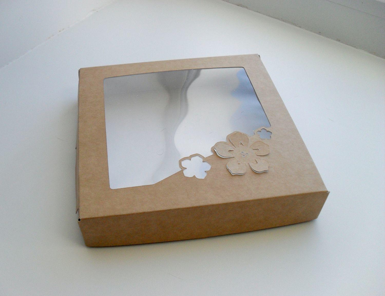 коробка коробочка крафт картон крышка окно окошко для пряников козуль печенья конфет шоколада выпечки подарков мыла hand made упаковка купить самосборная прочная красивая 8 марта праздничная цветы