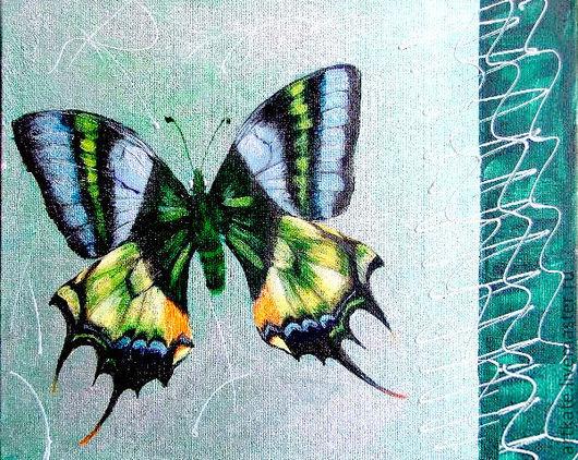 """Животные ручной работы. Ярмарка Мастеров - ручная работа. Купить Картина """"Бабочка Teinopalpus (самка) """". Handmade. Зеленый"""