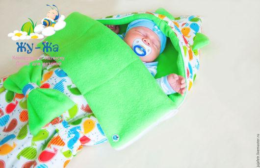 """Для новорожденных, ручной работы. Ярмарка Мастеров - ручная работа. Купить Универсальный конверт на выписку """"Птички"""" зеленый. Handmade. Комбинированный"""