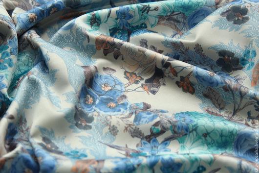 Шитье ручной работы. Ярмарка Мастеров - ручная работа. Купить Атлас-сатин Магия голубая.. Handmade. Бежевый, атласная ткань