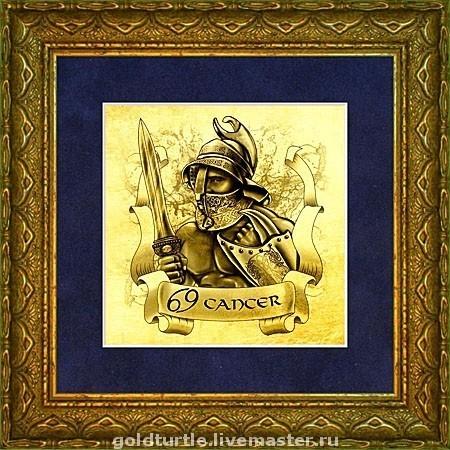 """Подарки по знакам Зодиака ручной работы. Ярмарка Мастеров - ручная работа. Купить Подарок """"Знаки Зодиака, Гладиаторы. Рак"""" картина из золота. Handmade."""