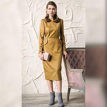 Одежда ручной работы. Ярмарка Мастеров - ручная работа Платье с пуговицами на рукавах горчичного оттенка. Handmade.