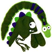 Работы для детей, ручной работы. Ярмарка Мастеров - ручная работа Шапка шарф варежки комплект Дракон (детская зимняя теплая вязаная). Handmade.