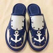 """Обувь ручной работы. Ярмарка Мастеров - ручная работа Кожаные тапочки """" Navigator""""- 7. Handmade."""