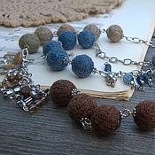 Украшения handmade. Livemaster - original item Long necklace Designer Chain Textile Blue Brown Beige Boho. Handmade.