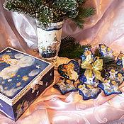 Подарки к праздникам ручной работы. Ярмарка Мастеров - ручная работа Набор керамических ёлочных игрушек Рождественские ангелочки. Handmade.
