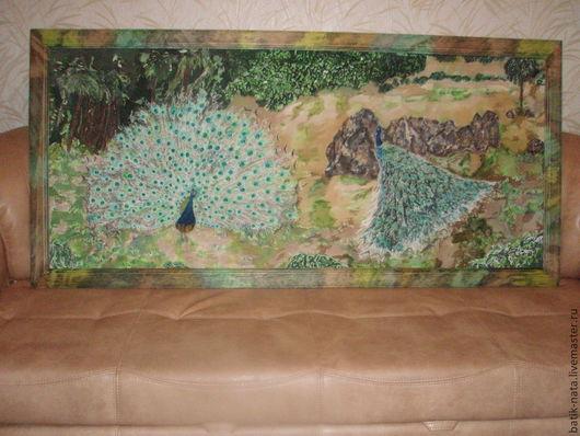 Пейзаж ручной работы. Ярмарка Мастеров - ручная работа. Купить Павлины. Handmade. Батик, батик птицы, пейзаж- батик