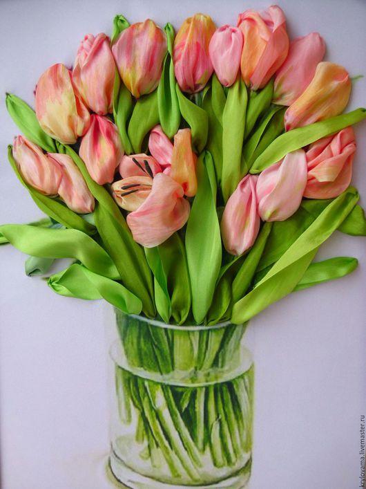 Картины цветов ручной работы. Ярмарка Мастеров - ручная работа. Купить Тюльпаны персикового цвета.. Handmade. Вышивка ручная