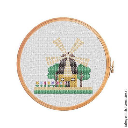 """Вышивка ручной работы. Ярмарка Мастеров - ручная работа. Купить Схема для вышивки крестом """"Амстердам мельница"""". Handmade. Комбинированный, разноцветный"""