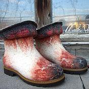 """Обувь ручной работы. Ярмарка Мастеров - ручная работа Валяные ботинки  и варежки """" Осень - вариации"""". Handmade."""