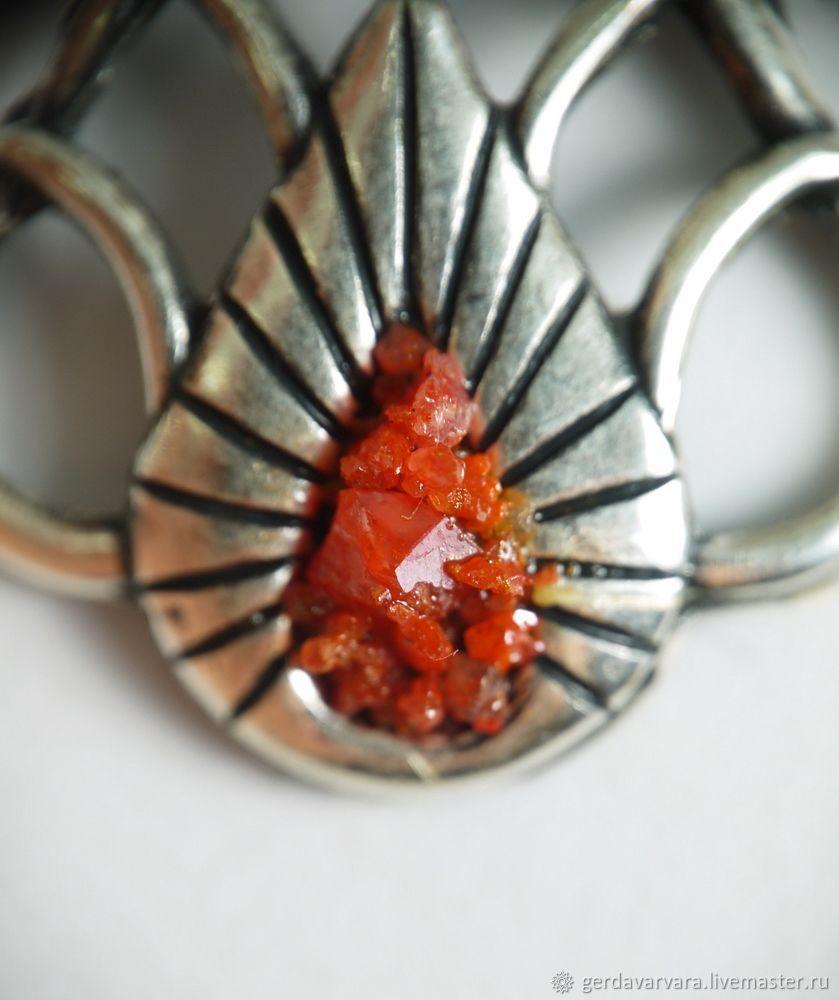 Кулон с крокоитом Ар-нуво (редкий камень) цвет оксид серебра, Подвески, Чебоксары, Фото №1