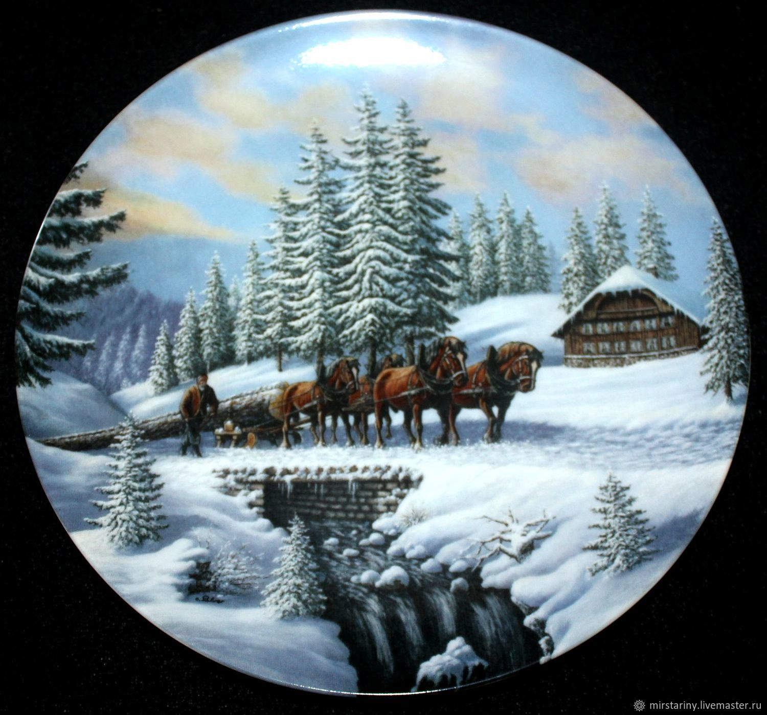 Magnificent plate with winter landscape 'lumberjack', Switzerland, Vintage interior, Moscow,  Фото №1