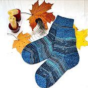 Аксессуары handmade. Livemaster - original item Striped Socks for Men Woolen Winter Warm Autumn Blue. Handmade.