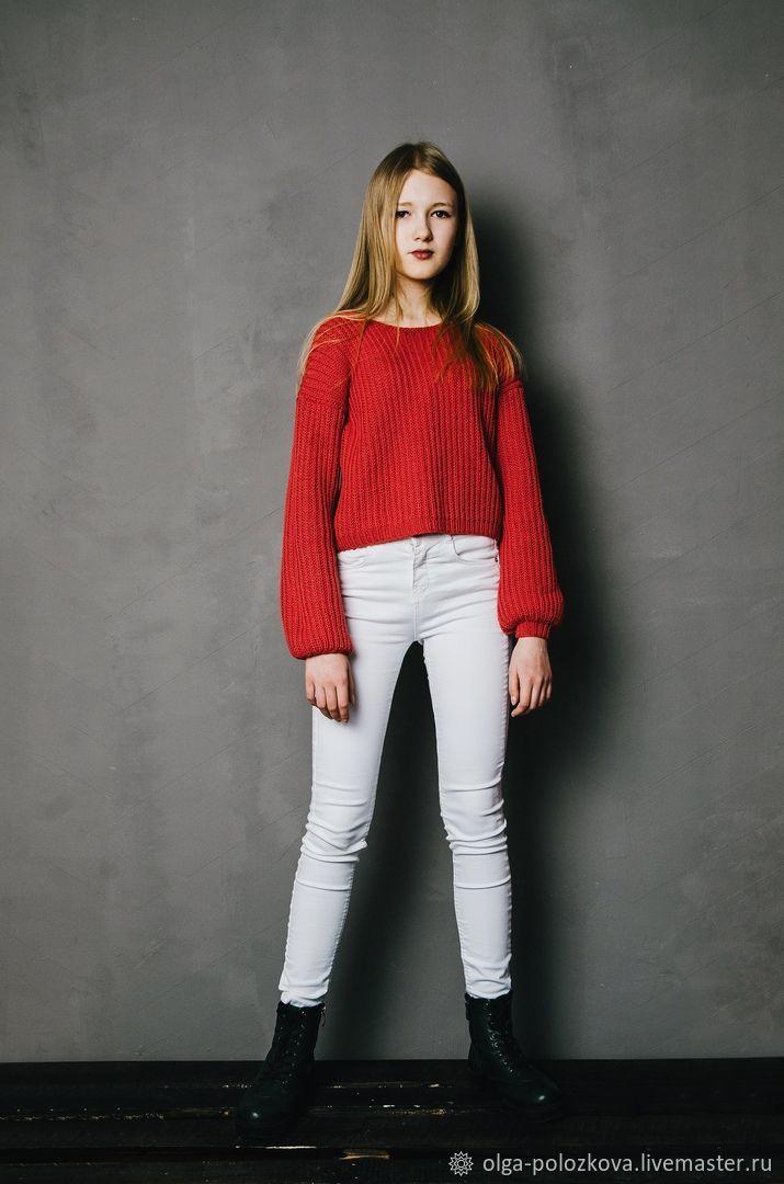 """Красный пуловер с рукавом """"Буф"""", Пуловеры, Вологда,  Фото №1"""