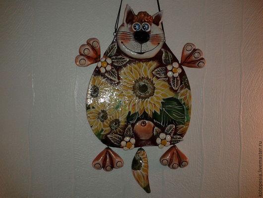 Подвески ручной работы. Ярмарка Мастеров - ручная работа. Купить кот мартовский в анфас. Handmade. Салатовый, подсолнухи, акриловые краски