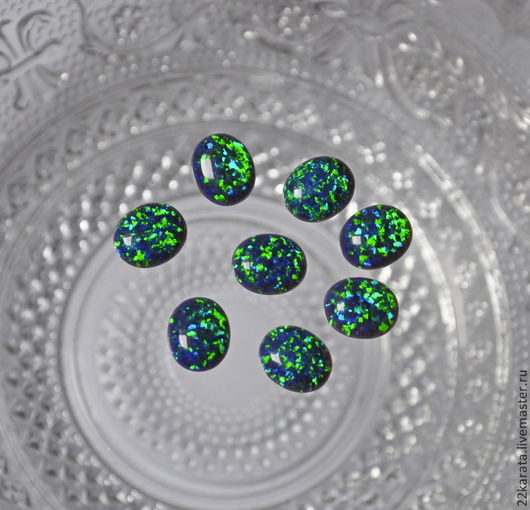 Для украшений ручной работы. Ярмарка Мастеров - ручная работа. Купить Опал синтетический, кабошон, 12 х 10 (сине-зеленый). Handmade.