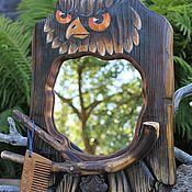 Зеркала ручной работы. Ярмарка Мастеров - ручная работа Зеркало с крючками Лесная хозяйка. Handmade.