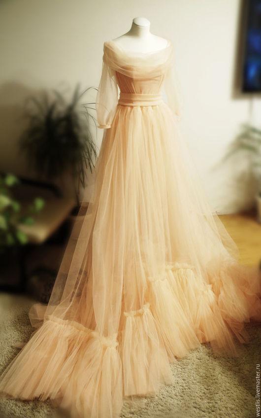 Платья ручной работы. Ярмарка Мастеров - ручная работа. Купить Будуарное платье для фотосессий. Handmade. Бежевый, свадебное платье, фотосессия