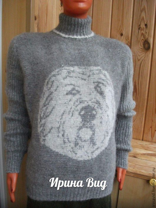 Кофты и свитера ручной работы. Ярмарка Мастеров - ручная работа. Купить Свитер  из собачьей шерсти с рисунком. Handmade. Серый