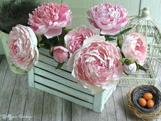 Интерьерные композиции ручной работы. Ярмарка Мастеров - ручная работа. Купить Пионы для украшения интерьера (бледно-розовый). Handmade. из цветов
