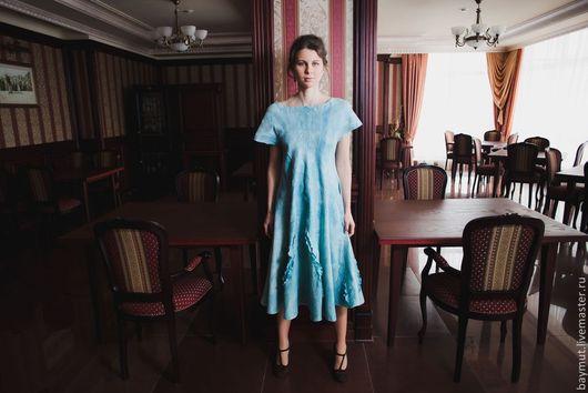 Платья ручной работы. Ярмарка Мастеров - ручная работа. Купить Мятное валяное платье расклешенное. Handmade. Мятный, нунофелтинг, бохо