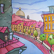 """Картины и панно ручной работы. Ярмарка Мастеров - ручная работа Батик панно """"Город. Канал."""". Handmade."""