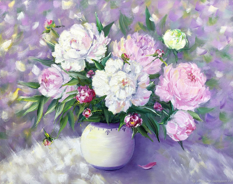 Открытка Букет розовых и белых пионов, Открытки, Чита, Фото №1
