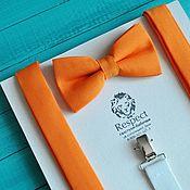 Аксессуары ручной работы. Ярмарка Мастеров - ручная работа Оранжевая галстук бабочка + оранжевые подтяжки / Набор Оранжевое небо. Handmade.