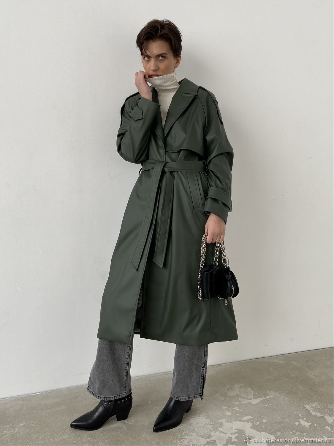 Vegan leather trench coat with belt, Coats, Moscow,  Фото №1