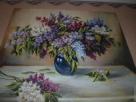 Натюрморт ручной работы. Ярмарка Мастеров - ручная работа. Купить Сирень. Handmade. Сиреневый, цветы, картина масолом, подарок мужчине