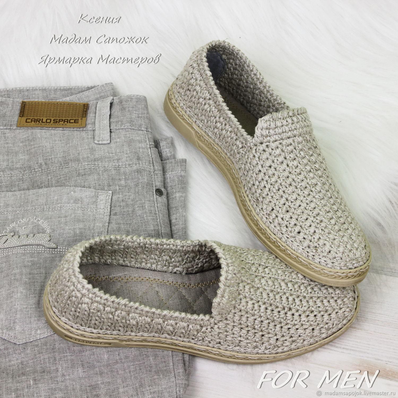 Men's shoes linen summer knitted, Loafers, Nizhny Novgorod,  Фото №1