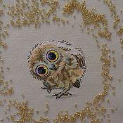Канцелярские товары ручной работы. Ярмарка Мастеров - ручная работа ткань  с вышивкой для обложки блокнота совенок. Handmade.