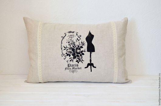 """Текстиль, ковры ручной работы. Ярмарка Мастеров - ручная работа. Купить Подушка """"Прованс"""" льняная с кружевом. Handmade. Серый, подушка"""